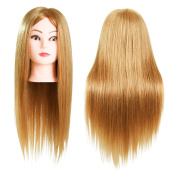 60cm Cosmetology School Student Beauty School Cuuting Braiding Practise Cosmetology Mannequin Head Tranining head 80% Real Hair Blonde