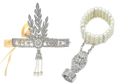 Babeyond® Bling Silver-Tone The Great Gatsby Inspired Leaf Simulated Pearl Hair Tiara and Bracelet Adjustable Ring Set