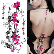 Supperb Temporary Tattoos - Hot Pink Plum Flowers
