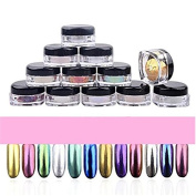 12 Colours Nail Glitter Powder Shinning Nail Mirror Powder, Makeup Art DIY Chrome Pigment With Sponge Stick