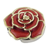 TOOGOO(R) Gold Tone Trimmed Red Rose Accent Folding Handbag Hook Table Hanger