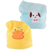 kilofly 2pc Soft Absorbent Dry Hair Cap Kids Quick Drying Towel Head Wrap Set
