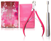 Professional Quality Stainless Steel Cuticle Remover 2pcs Set. Nail Nipper 1/2 Jaw Double Spring and Nail Pusher ideal for removing dead skin or hangnails. Manicure and Pedicure tools