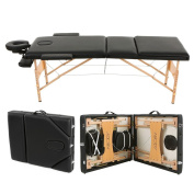Abody Portable Massage Table 3 Fold Hardwood Frame Adjustable Spa Bed Tattoo Beauty Salon, 210cm L, Black