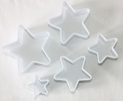 Star Shaped Plastic Cutters Set of 5 Cutters, Pastry, Biscuit and Fondant