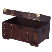 Small furniture storage HS 130524 Chest, Treasure Chest, Box, Storage Box, Nautical Chic Wooden Various Sizes Dress with Metal Decoration, High Quality Kolo Nialtruhe Colonial Style Wooden Box Chest with Ornaments 28 X 17 X 16 cm