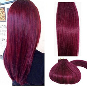 Myfashionhair Tape In Human Hair Extensions 60cm Burgundy 20pcs 70g Set Silky Straight Skin Weft real human remy hair pieces