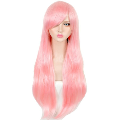 CosHouse Girls Sweet Long Natural Wigs 80cm Pink Cosplay Wig for Party Halloween