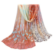 Datework Women Design Printed Silk Soft Chiffon Shawl Scarf