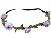 AM CLOTHES Womens Flower Garland Vacation Festival Hair Wreath Headband Light Purple