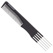 HYOUJIN615 Black Carbon 5 Metal Prong Styling Comb,Lift Teasing Comb,Lifting Fluffing Comb for Salon Use-with Five Pins and Stainless Steel Lift-Best for making bun hair style-Anti static