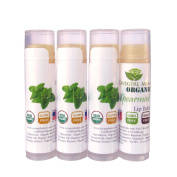 4-Pack Certified USDA Organic Lip Balm. CAVEGIRL MINE - Organic Spearmint Flavour. Made in USA. Paraben Free. GMO Free. Everyday use. Gluten Free. Deeply Moisturises & Softens Chapped Dry Lips.