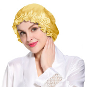 LILYSILK Flounced Night Sleep Cap Hat Pure 19 Momme Mulberry Silk Gold One Size