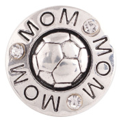 "Chunk Snap Charm Soccer Mom and Soccer Balll 20 mm 3/4"" Diameter"