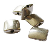 Heather's cf 45 Pieces Silver Tone Smooth square Flat Beads Findings Jewellery Making10mmX4mm