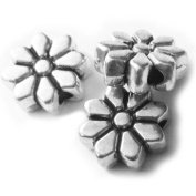Heather's cf 75 Pieces Silver Tone Flowers Flat Beads Findings Jewellery Making 9X3mm