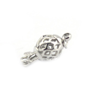 SR BGSJJewelry Necklace Making Design DIY White Gold Plated Hollow Ball Fillgree Box Clasp 10mm 10 Pcs