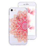 iPhone 7 Clear Case,IKASEFU Creative Hard PC Back+Soft Frame Slim Fit Orange Henna Flower Design Clear Silicone Case Cover for iPhone 7 12cm -#10