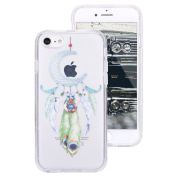 iPhone 7 Clear Case,IKASEFU Creative Hard PC Back+Soft Frame Slim Fit Pretty Moon Dreamcatcher Design Clear Silicone Case Cover for iPhone 7 12cm -#20