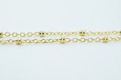 New Gold Filled Chain 18K Spacer Size 2mm Chain Size 1mm for Jewellery Making GFC57 Sold by Foot