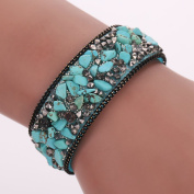 Diamondo Fashion Women Wrap Bracelets Slake Stone Leather Bracelets