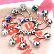 Maggie 12 Pcs Cool Steel Crystal Rhinestone Belly Button Navel Ring Piercing