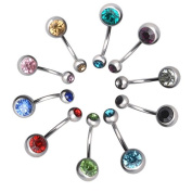 Maggie 10 Pcs Cool Steel Crystal Rhinestone Belly Button Navel Ring Piercing