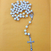 12 X Wholesale Bulk Rosary Long Faux Pearl Rosary Chain for Baptism , Wedding , Religious Favour and Your Choice of Gift Bag /Baptism Favour