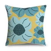 FabricMCC Abstract Teal Yellow Leaf Spray Square Accent Decorative Throw Pillow Case Cushion Cover 18x18