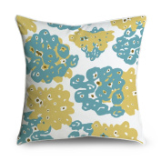 FabricMCC Teal Yellow Floral Square Accent Decorative Throw Pillow Case Cushion Cover 18x18
