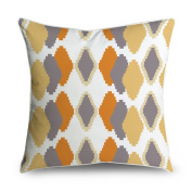 FabricMCC Ikat Tribal Diamond Pattern Yellow Orange Grey Square Accent Decorative Throw Pillow Case Cushion Cover 18x18