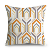 FabricMCC Modern Hexagon Yellow Orange Grey Pattern Square Accent Decorative Throw Pillow Case Cushion Cover 18x18