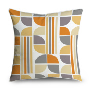 FabricMCC Yellow Orange Grey Floral Stripes Geometric Square Accent Decorative Throw Pillow Case Cushion Cover 18x18