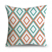 FabricMCC Diamond Pattern Teal and Orange Square Accent Decorative Throw Pillow Case Cushion Cover 18x18