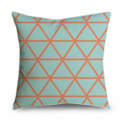 FabricMCC Orange Triangles Teal Geometric Square Accent Decorative Throw Pillow Case Cushion Cover 18x18