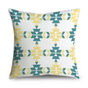 FabricMCC Teal Yellow Geometric Square Accent Decorative Throw Pillow Case Cushion Cover 18x18