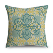 FabricMCC Teal Yellow Floral Damask Square Accent Decorative Throw Pillow Case Cushion Cover 18x18