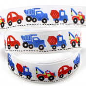 Midi Ribbon Truck Traffic Car Design Pattern Print Deco Grosgrain Ribbon-2.2cm X 50 Yards-DIY Crafts Cheer Hair Bow Clip Gift Cake Box Party Home Sewing Supplies Fabric Tape-Design 7