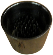 JWL (1) Solid Brass Water Holding Ikebana Flower Cup 6cm Tapered Black Nickel Colour Pin Frog Holder