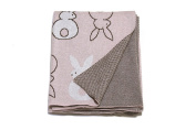 Bunny love - Reversible cotton Baby Blanket by Pink Lemonade - Light Pink