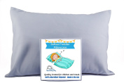 TODDLER PILLOW CASE - BLUE/grey. Luxury Microfiber Fabric. Fits 13.5 x 19.5 up to 36cm x 50cm . Handmade in the USA. 100% SATISFACTION GUARANTEE. Best Toddler or Travel Pillowcase.