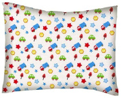 SheetWorld Crib / Toddler Percale Baby Pillow Case - Baby Cars & Trucks - Made In USA