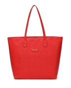 BayB Brand Colorland Leather Nappy Tote Bag - Red