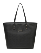 BayB Brand Colorland Leather Nappy Tote Bag - Black