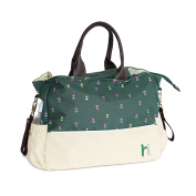 Luxury Baby Nappy Designer Tote Bag with Multiple Storage Compartments, Changing Pad & Stroller Straps by Inside House - Green