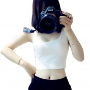 Kemilove Women Tight Crop Top Skinny U-Neck T-Shirts Sports Dance Short Vest