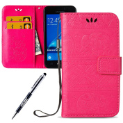 JAWSEU Leather Case for Samsung Galaxy J1 2016 Elephant, Flip Case for Samsung Galaxy J1 2016 Hot Pink, Strap Lanyard Embossing Elephant Pattern Cute Elegant Retro Slim Leather Protective Case Magnetic Stand Function Book Style Card Holder Pouch Pocket ..