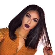 Amethyst 13x 6 Front Lace Free Part Human Hair Wigs 130 Density Grade 8A Brazilian Hair Glueless Short Bob Straight Lace Front Wigs For African Americans