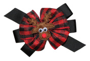 WD2U Girls Woodland Buffalo Plaid Reindeer Christmas Hair Bow Alligator Clip USA