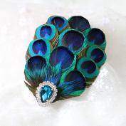 RUNHENG Handmade Feather Peacock Hairclip, Natural Feather Fascinator Barrette with Sparking Rhinestone and Blue Diamond